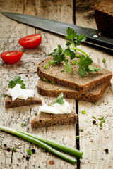 Sandwiches of rye bread with butter