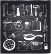 Hand drawn set of kitchen utensils chalkboard. - 81700047