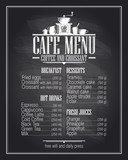 Chalkboard cafe menu list design with dishes name.