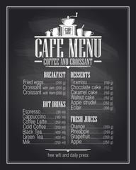 Chalkboard cafe menu list design with dishes name.