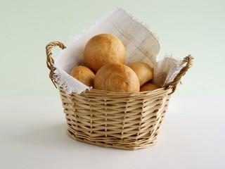 fresh,warm rolls in basket for breakfast