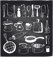 Hand drawn set of kitchen utensils chalkboard.