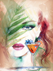 abstract woman face and tropical cocktail.
