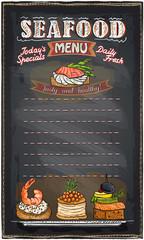Seafood menu list blackboard chalk.