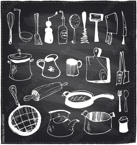 Hand drawn set of kitchen utensils chalkboard. - 81700047