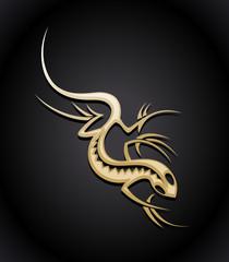 Gold lizard logo.