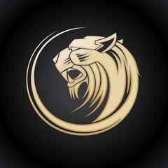 Gold tiger head logo.