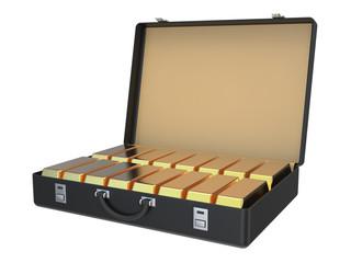 Suitcase Full of Gold Ingots 3D