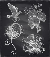 Chalkboard wedding floral drawn graphic set.