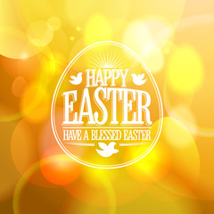 Happy Easter design on a gold bokeh background.