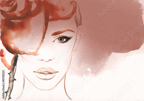 woman portrait .abstract watercolor - 81700225