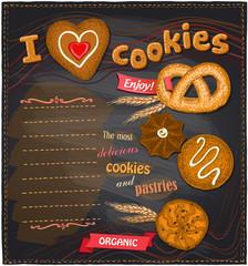 I love cookies chalkboard bakery menu.