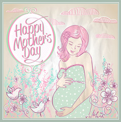 Mother's Day card with mother and child silhouette.