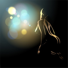 Beautiful naked body silhouette of young and sexy woman.