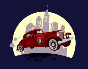 Retro car against night town cartoon design.