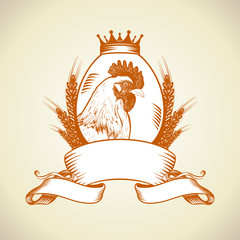 Farm logo with hen,egg and wheat.