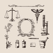 Set of hand-drawn elements of pharmacy or chemistry. Vector. - 81700644