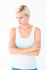 Angry blonde with arms crossed