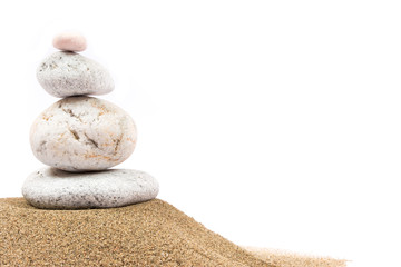 Relaxing on the beach, stones on white background