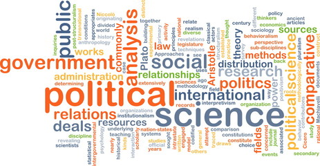 political science wordcloud concept illustration