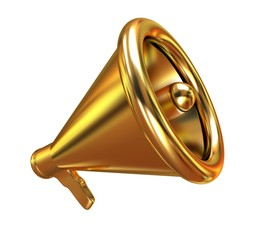Gold loudspeaker as announcement icon. Illustration on white