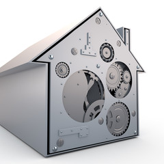 House with gears, 3D