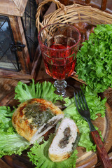 minced roll and wine in a glass