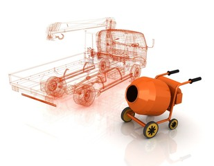 3d model concrete mixer and truck