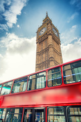 Red Double Decker Bus under Big Ben. London travel concept