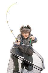 Fisherman with fishing rod in the studio