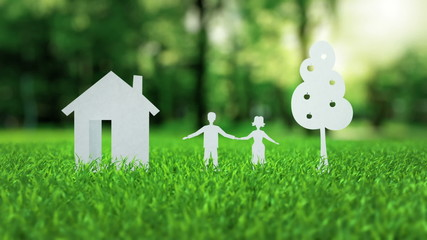 White paper house family tree animation on green nice summer