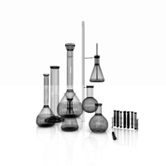 Chemistry set, with test tubes, and beakers filled with colored