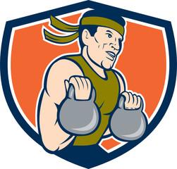 Strongman Lifting Kettlebell Crest Cartoon