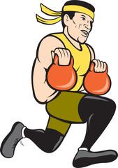 Crossfit Runner With Kettlebell Cartoon