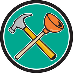 Crossed Hammer Plunger Circle Cartoon