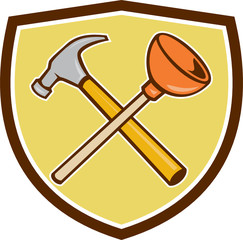 Crossed Hammer Plunger Crest Cartoon