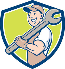 Mechanic Smiling Spanner Standing Crest Cartoon