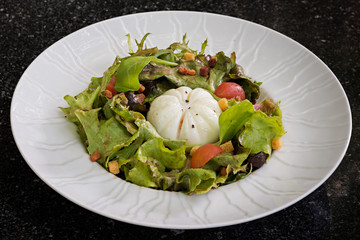 Started Salad with egg purse