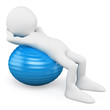 3D white people. Man exercising with a aerobics ball
