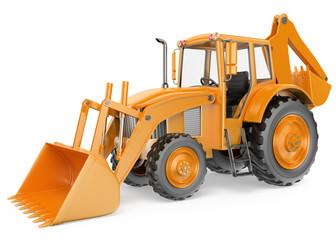 3D Backhoe loader. Digger