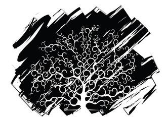 albero con sfondo astratto