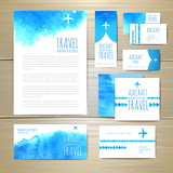 Fototapety Airplane watercolor artistic document template