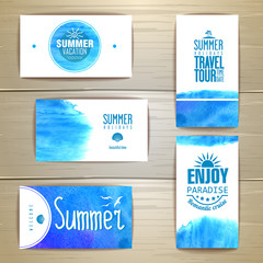 Set of blue watercolor summer visiting card. corporate identity