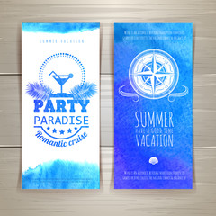 Set of blue watercolor summer banners