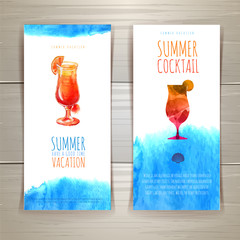 Set of blue watercolor summer banners with cocktail