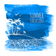 Blue summer watercolor background