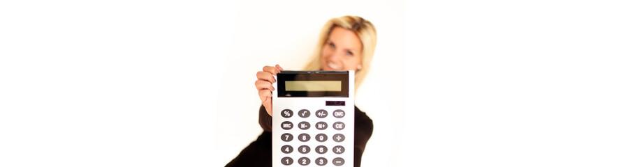 Taschenrechner in der Hand - Banner