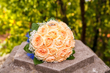 close-up of colorful wedding bouquet