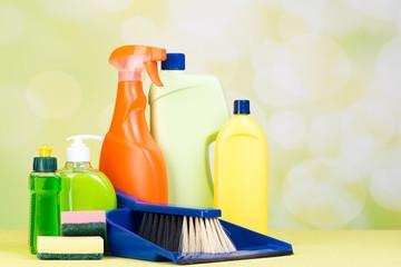 reinigungsflaschen und kehrblech