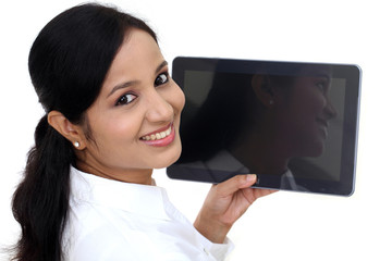 Young business woman using digital tablet computer